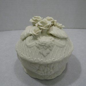 Porcelain Round Lid Trinket Jewelry Box Rose